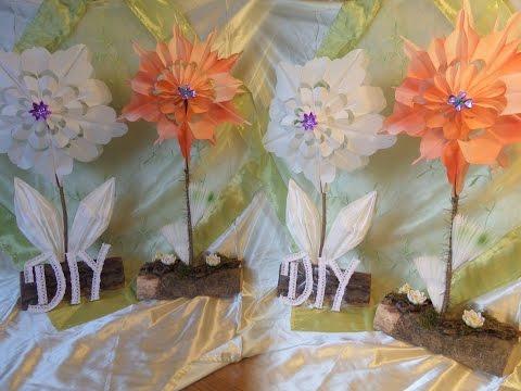 DIY: 2 DEKO-Blumen aus Papier Frühstückstüten BASTELN+ färben, Upcycling