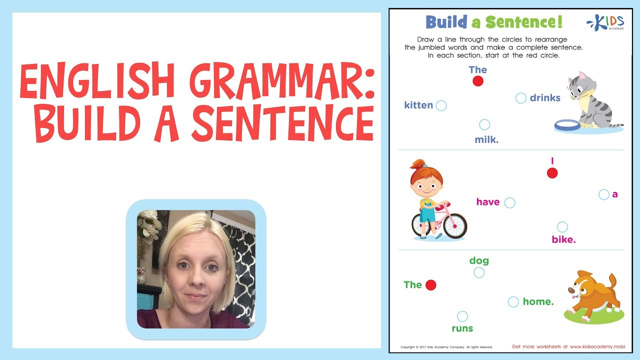 Sentence Building   English Grammar for 1st Grade   Kids Academy - YouTube [ 720 x 1280 Pixel ]