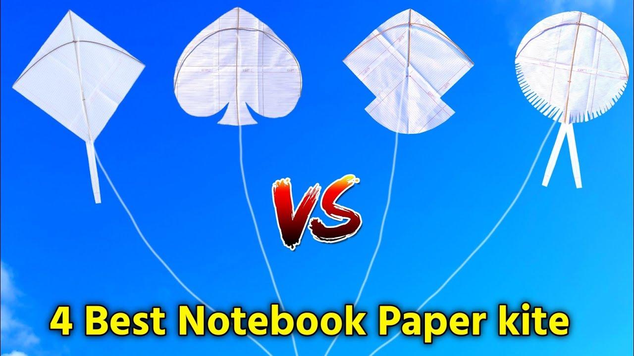 how to make Notebook paper kite , 4 best & easy paper kite , flying kite , patang kese banate hai