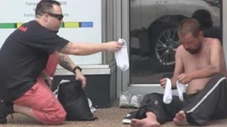 Giving The Homeless New Shoes - Will Make You Cry :'(