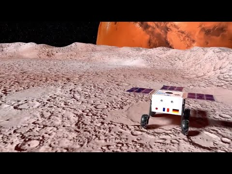 Déploiement du rover MMX sur Phobos.