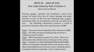 NFPA 20 - - THE AXIS OF EVIL 2, Gems Sensor Recall
