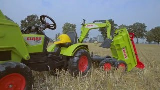 Toy pedal tractor, Claas AXOS 330, with trailer and tools, item 1010WH by Falk Toys