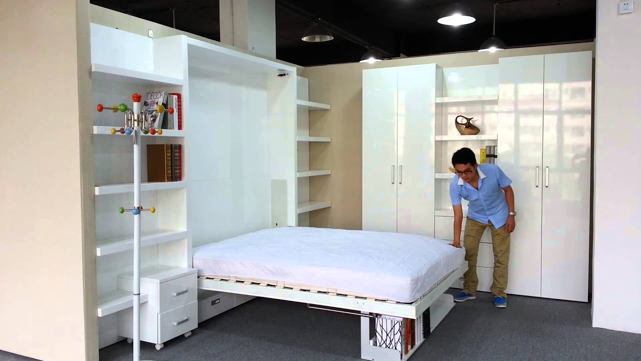 High gloss wall bed murphy bed from matrix space china youtube amipublicfo Image collections