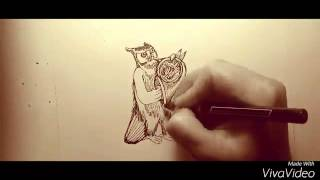 Owl Plays the French Horn: #6 Time Lapse Sketch