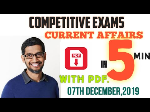 #current_affair-in-5-minutes-with-pdf-/-07th-december,2019-/-#important_questions---gk-nation