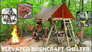 Solo Overnight Building a Bushcraft Raised Shelter and Dining Area and a Rise and Shine Bacon Burger