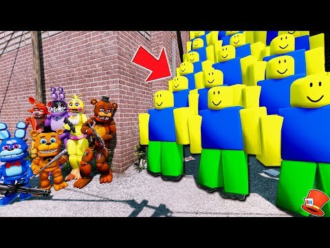 CAN THE ANIMATRONICS DEFEAT THE EVIL ROBLOX ARMY? (GTA 5 Mods FNAF Kids RedHatter)