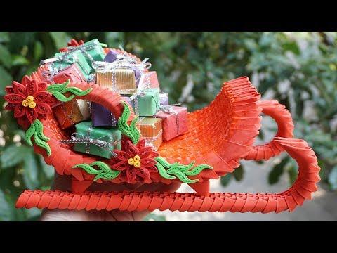 HOW TO MAKE 3D ORIGAMI SANTA CLAUS SLEIGH | DIY PAPER SANTA CLAUS SLEIGH CHRISTMAS DECORATION