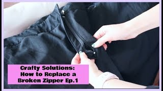 How to replace a Zipper on Pants| Crafty Solutions Ep. 1 | Crafty Amy