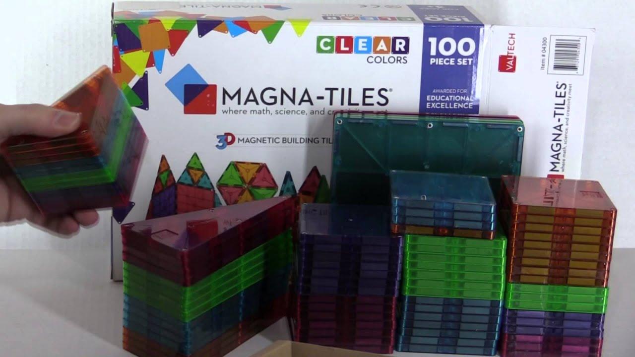 Magna Tiles Clear Colors 100 Piece Set Unboxing Review
