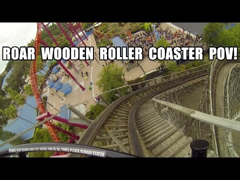 Roar Wooden Roller Coaster POV Six Flags Discovery Kingdom