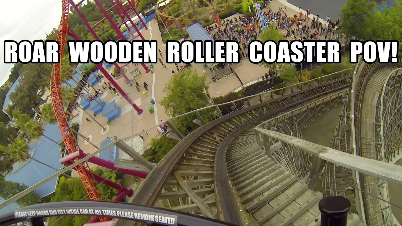 Roar Wooden Roller Coaster POV Six Flags Discovery Kingdom - YouTube