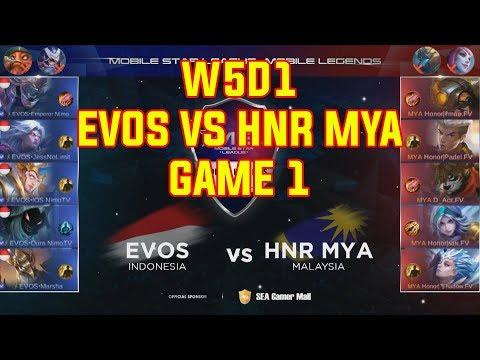 EVOS (Emperor Saber) Vs HNR MYA (Lmao Jawhead) - MSL:MLBB S1 W5D1 Game 1