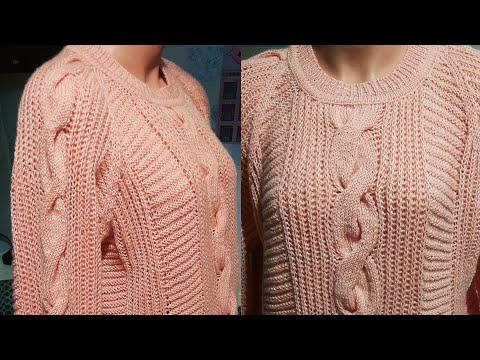 Пуловер розовый женский спицами