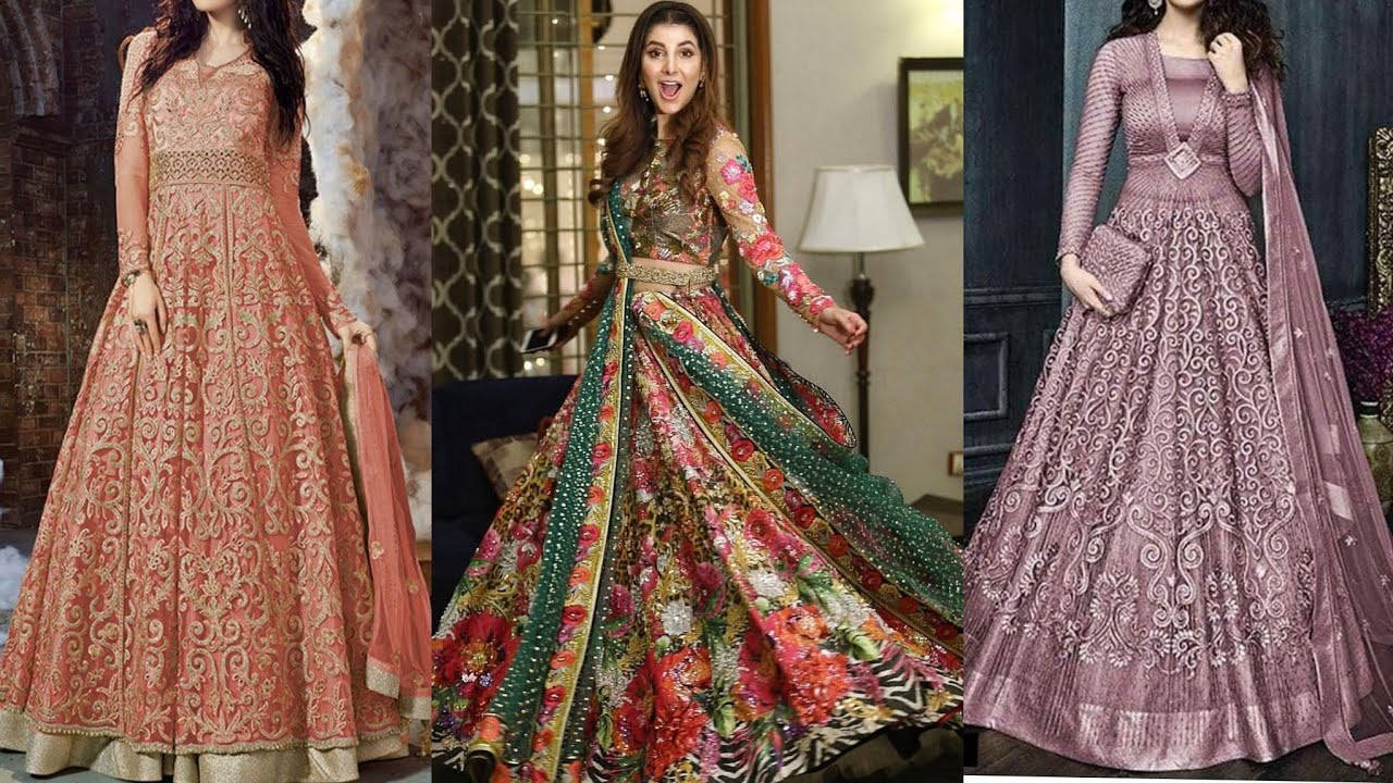 Pakistani And Indian Designer Lehnga Maxi Dresses 2019 Lehnga Maxi Gown Designs