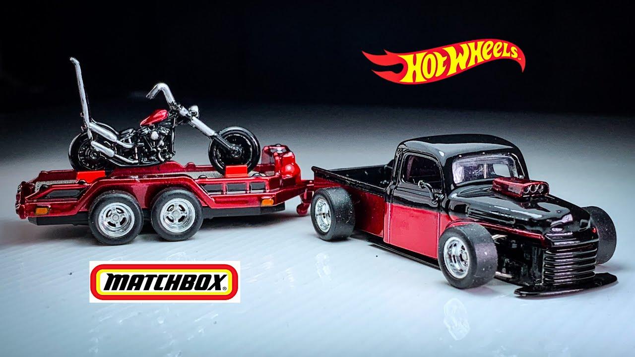 Hot Rod '49 Ford F1 Hot Wheels custom with Oldschool Chopper Trailer Matchbox custom ketupat sayur
