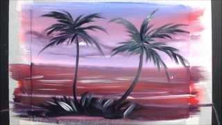 Картина за 3 минуты! Рисуем пальмочки(Как нарисовать пальмы гуашью. Материалы, которые нужны для рисования этой картины: - гуашь, - кисти, - акварел..., 2014-12-18T22:16:46.000Z)