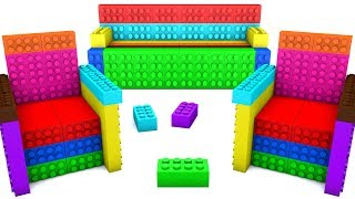 Learn Colors with Rainbow 3D Sand Lego Chair and Sofa Toys For Kids and toddlers