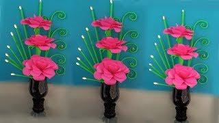 paper flower & plastic bottle vase || plastic bottle vase diy || handmade flower and vase
