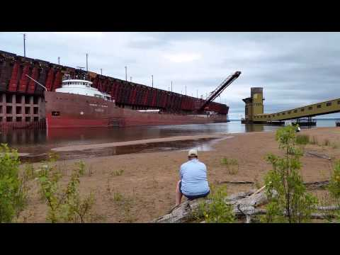 Great Lakes Freighter being loaded at Ore Docks