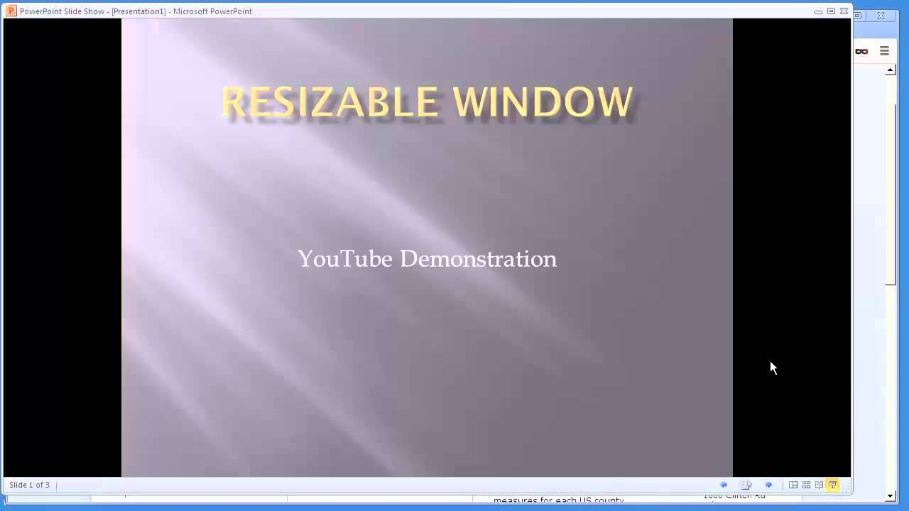How to run PowerPoint in a resizable window and Not Full Screen