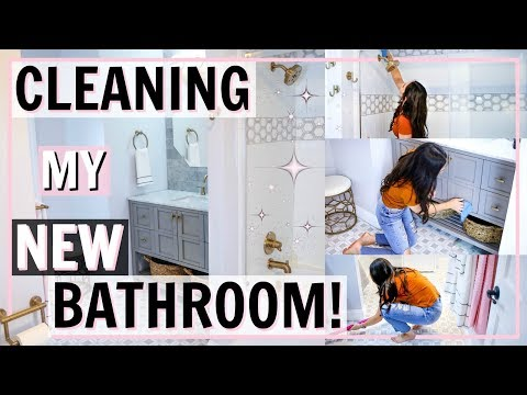 CLEANING MY NEW BATHROOM! ULTIMATE BATHROOM SPEED CLEANING MOTIVATION | Alexandra Beuter