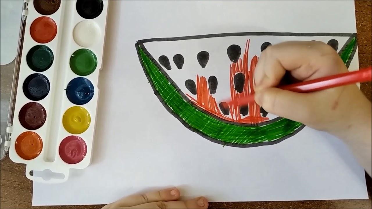 Раскраска для детей АРБУЗ. Мультик - Раскраска. Учим цвета ...
