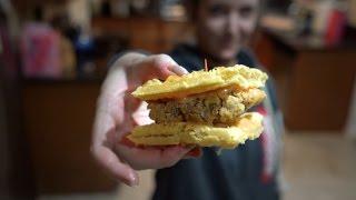 vegan chicken & waffle sliders
