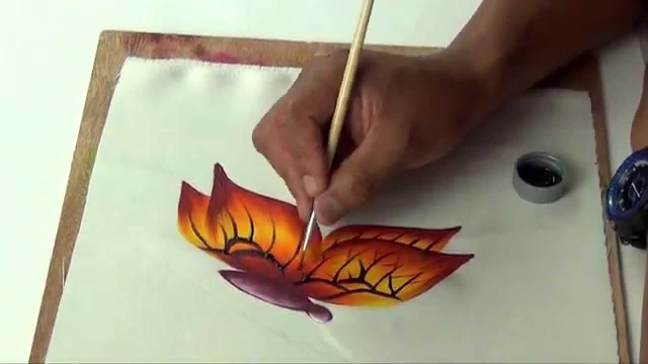 Pintando una mariposa en tela youtube - Como pintar sobre tela ...
