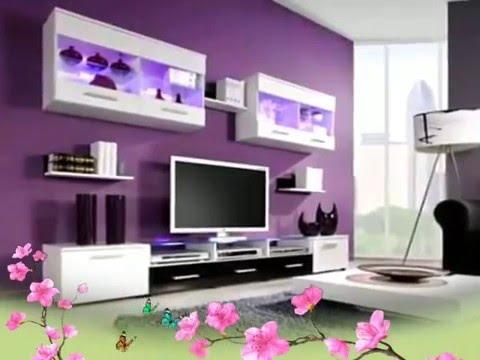 dekorasi ruang tamu putih purple | desainrumahid