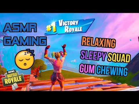 ASMR Gaming 😴 Fortnite Relaxing Sleepy Squad Gum Chewing 🎧🎮 Controller Sounds + Whispering 💤