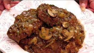 Salisbury Steak With Mushroom And Onion Gravy Is Cooking In Thehourglasskitchen