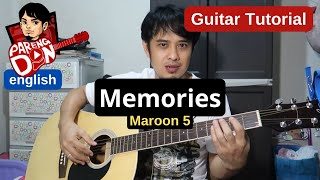 Maroon 5 'Memories' guitar tutorial chords with capo, no capo and Eb standard   Pareng Don tutorial