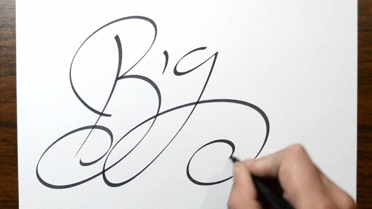 writing big in fancy cursive lettering youtube