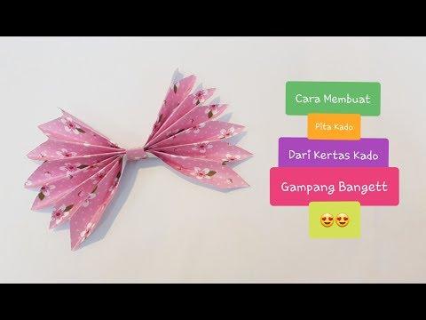 Cara Membuat Pita Kado Dari Kertas Kado | Diy | Easy Paper Bow | Diy Paper | Ide Kreatif
