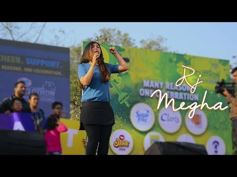 RJ Megha hosting Sugarfree Cyclothon Ahmedabad 2018