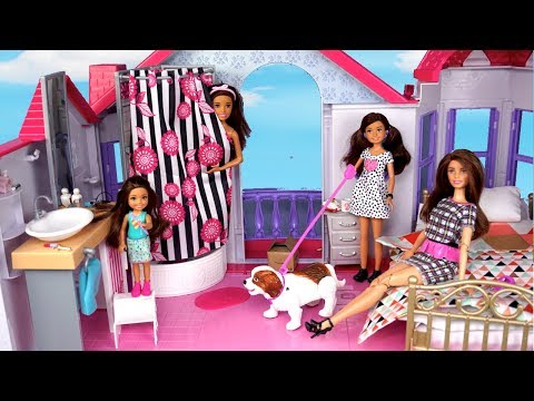 Barbie New Family School Morning Routine - Packing lunchbox & Riding School Bus