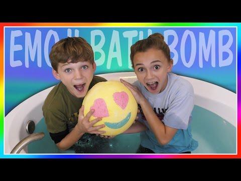 WORLD'S LARGEST EMOJI BATH BOMB IN BATH CHALLENGE! | We Are The Davises