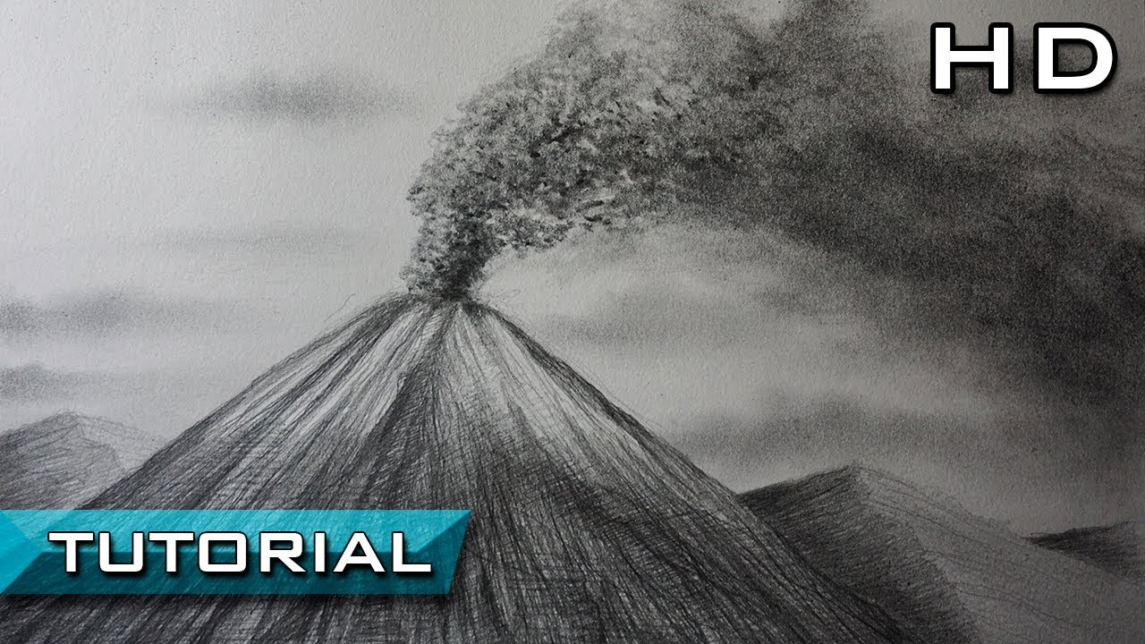Cómo Dibujar Un Volcán En Erupción A Lápiz Paso A Paso Tutorial