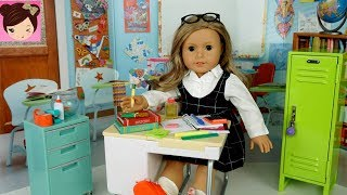 AG Doll Classroom Miniature School Supplies Haul - Packing Doll Backpack Play American Girl
