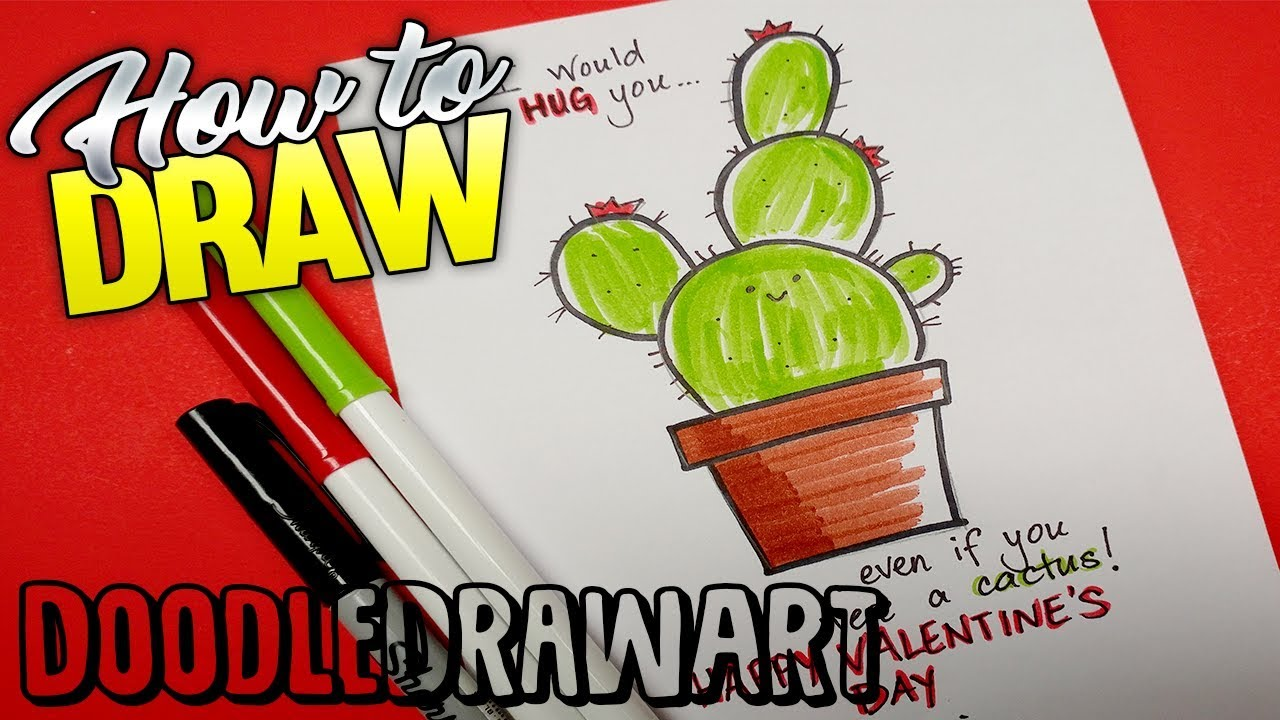 How To Draw A Cactus Valentine Card Youtube
