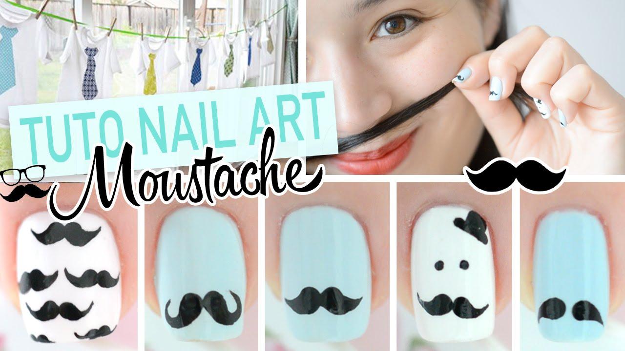 Nail art moustache movember diy youtube prinsesfo Choice Image
