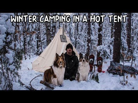 Winter Camping in a Hot Tent with My Dogs