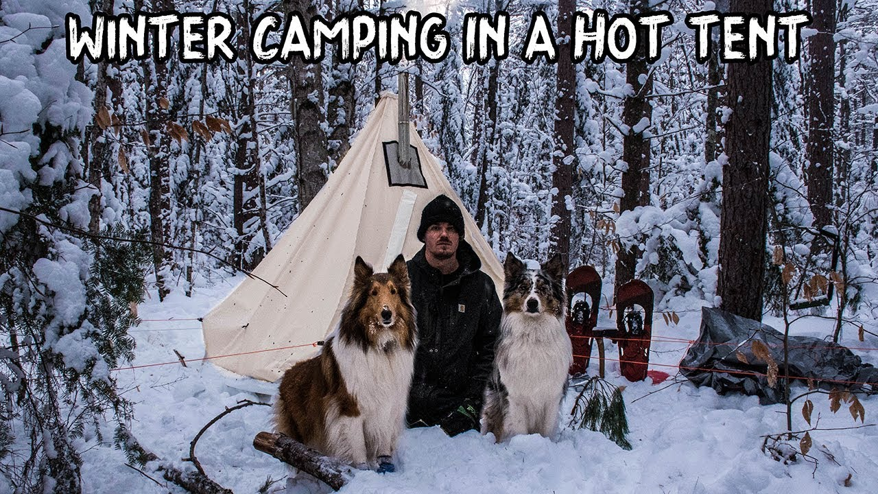 Winter Camping in a Hot Tent with My Dogs - YouTube