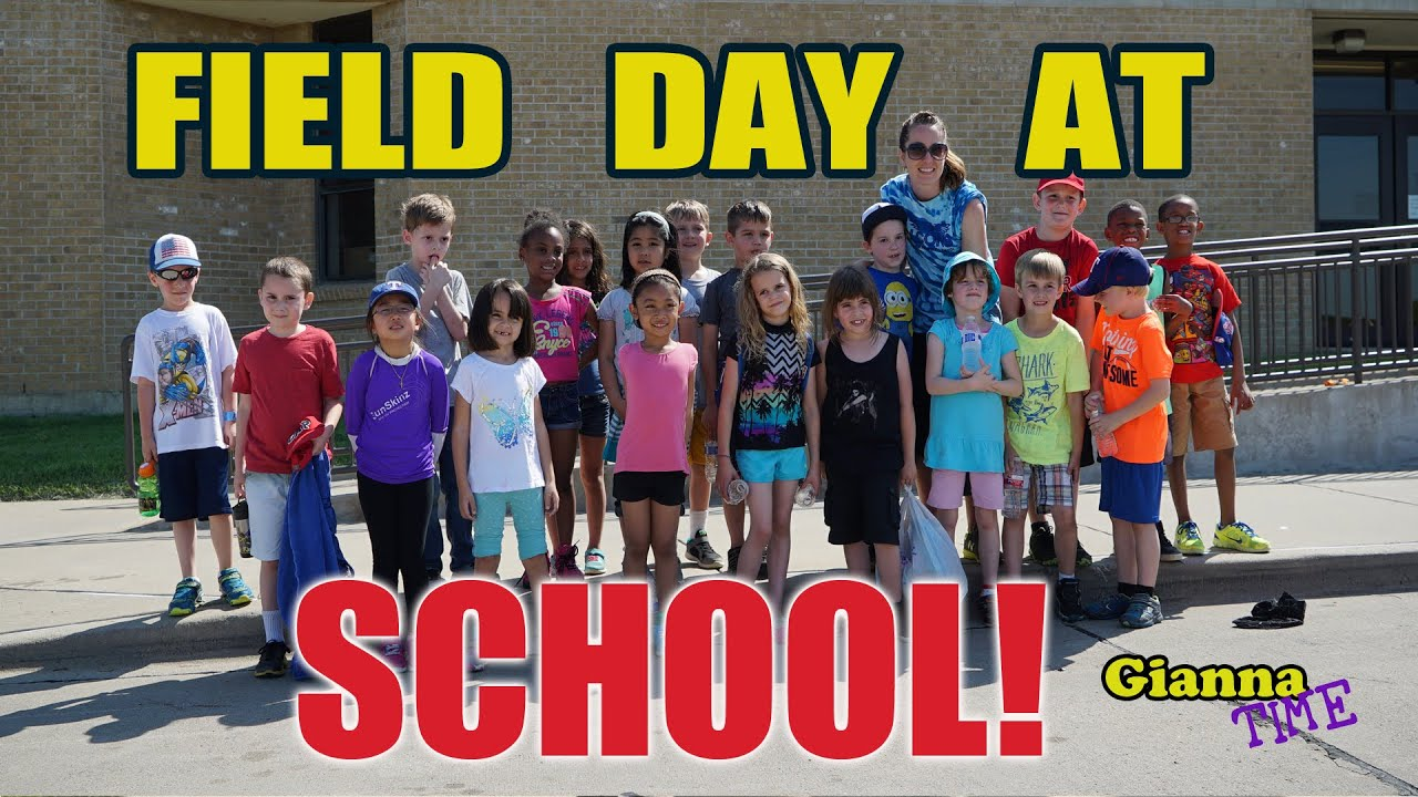 Field Day at School with fun outdoor games for kids and Tug a war