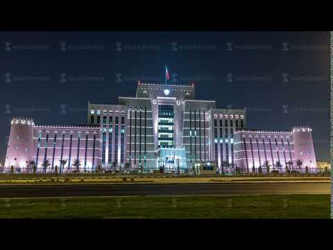 The Ministry of Interior in Doha night timelapse. Doha, Qatar, Middle East