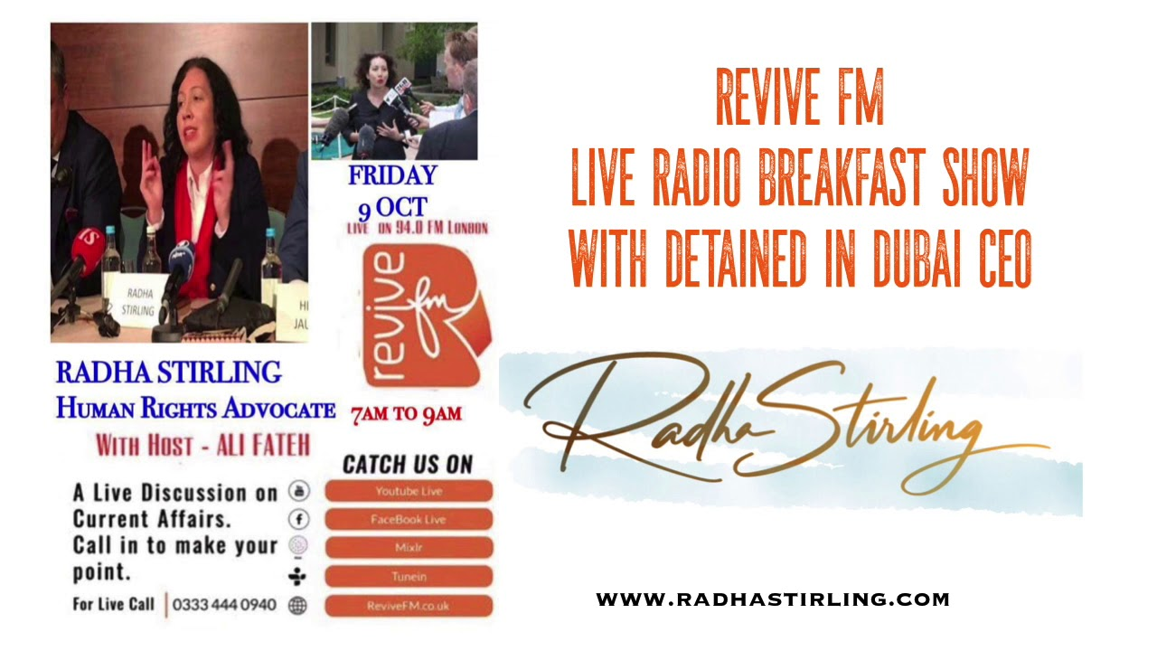 Middle East Civil and Criminal Justice Expert RADHA STIRLING, with lawyer Ali Fateh on ReviveFM