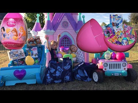 Disney Princess Carriage Castle Easter Egg Hunt Frozen Sleigh Ride-On Surprise Opening Candy