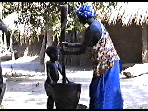 A village in Africa. Local people prepare food. Guine-Bissau